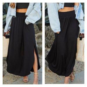NWT Black Side Slit Pocket Smoked Waist Maxi Skirt